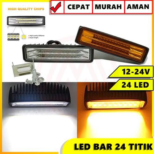 Foto Produk LED BAR SLIM 24 TITIK CWL 72W HIGH QUALITY 12-24 VOLT LAMPU TEMBAK - Kuning dari Modifikasi Market