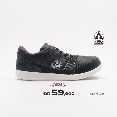 Foto Produk Aerostreet 35-38-Pabours-Hitam Abu-Sepatu Sneakers Pria - 35 dari Aerostreet