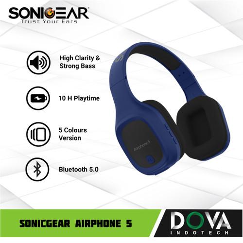 Foto Produk Sonicgear Airphone 5 Bluetooth Headphone with Mic - Biru dari Dova Indotech