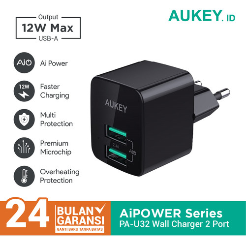 Foto Produk Aukey Charger PA-U32 2 Port 12W with AiQ - 500284 dari Aukey Makassar