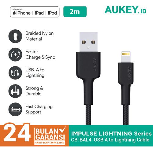 Foto Produk Aukey CB-BAL4 MFi USB-A to Lightning Cable 2m Black - 500352 dari Aukey Makassar