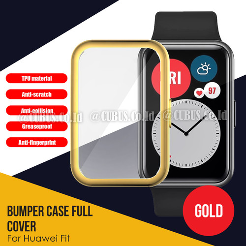 Foto Produk Silicone Case / Bumper Case Full Cover screen For Huawei Watch Fit - Gold dari Cubus_Co_ID