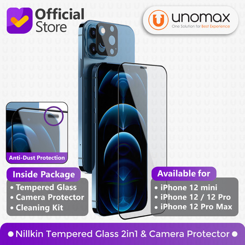 Foto Produk Tempered Glass iPhone 12/mini/Pro/Max Nillkin 2in1 HD+Camera Protector - 12 mini dari unomax
