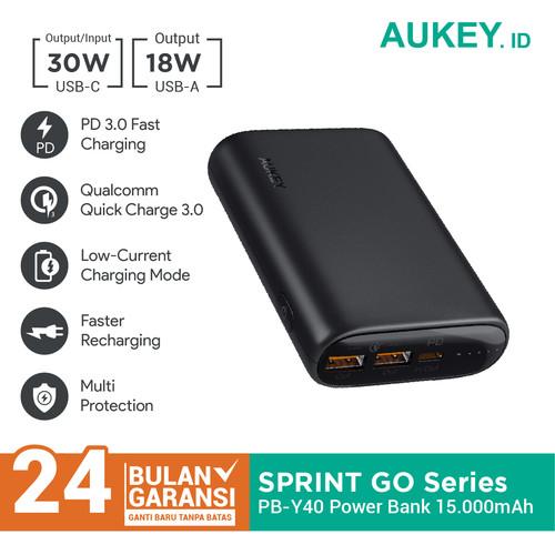 Foto Produk Aukey Powerbank PB-Y40 15000mAh PD 3.0 & QC 3.0 - 500724 dari Aukey Makassar
