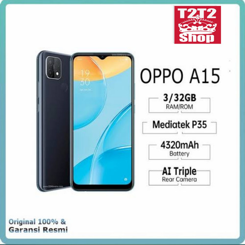 Foto Produk Oppo A15 3/32 GB New Garansi Resmi - Hitam dari T2T2 Shop