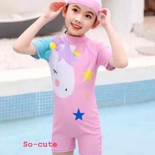 Foto Produk Baju Renang Anak Perempuan Swimsuit Unicorn Pink-Purple - Pink, 4XL dari So-Cute