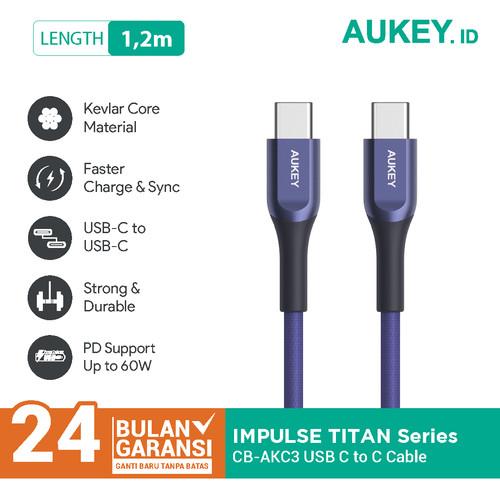 Foto Produk Aukey Cable CB-AKC3 USB-C to C 1.2m Kevlar Blue - 500417 dari Aukey Makassar