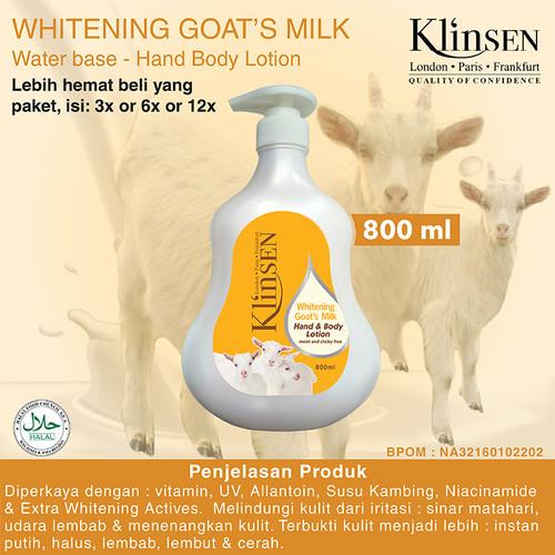 Foto Produk Klinsen Hand & Body Lotion Whitening Goat Milk 800 ml dari Klinsen Dayman