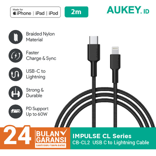 Foto Produk Aukey Cable CB-CL2 Braided Nylon MFi USB-C T0 Lightning 2m - 500367 dari Aukey Makassar