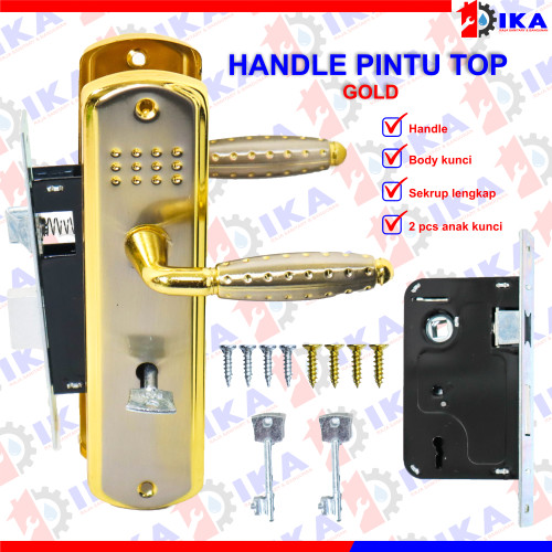 Foto Produk Kunci pintu set TOP GRANDE + SILINDER komplit / handle gagang tarikan - GRNDE IJO GOLD dari Indokaryaabadi