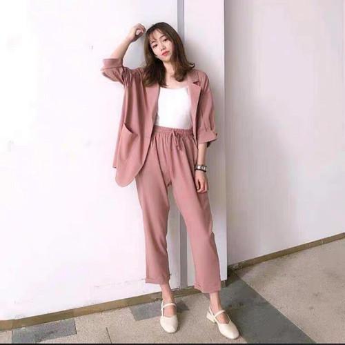 Foto Produk CAVAREZ SET Bahan Wolycrepe Setelan Wanita Terbaru Dapat Baju + Celana - Apricot dari Frilly Official Store