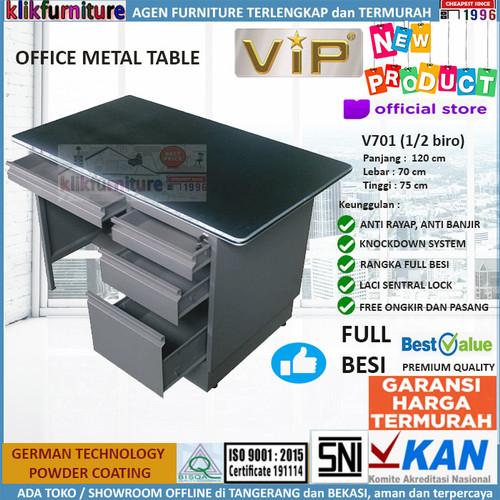 Foto Produk Meja Tulis Meja Kantor Meja Kerja Besi 1/2 Biro V701 VIP dari klikfurniture