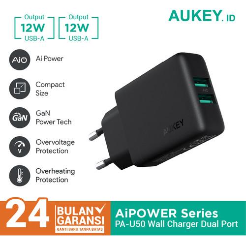 Foto Produk Aukey PA-U50 Dual Port USB Wall Charger with Aipower - 500348 dari Aukey Makassar