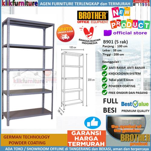 Foto Produk Rak Besi Shelf Shelving Rack FULL BESI 5 Susun B901 Brother dari klikfurniture