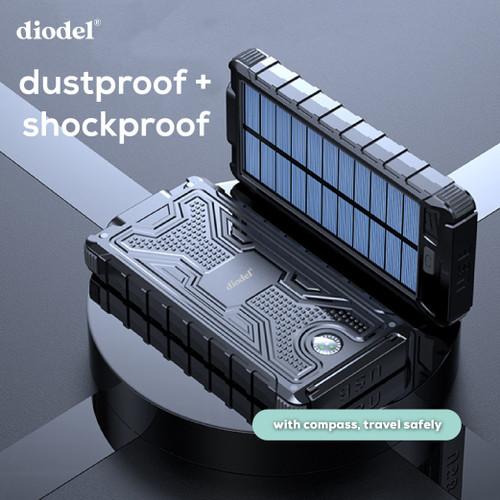 Foto Produk Diodel 10.000 mAh Dual USB Solar Power Bank + 2X LED Flashlight - Hitam dari Diodel Indonesia