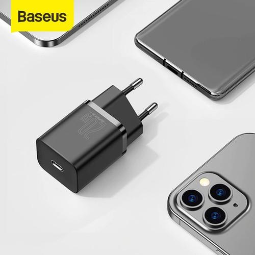 Foto Produk KEPALA CHARGER TYPE C PD BASEUS QUICK CHARGER 20W IPHONE 12 - Hitam dari Baseus Official Store