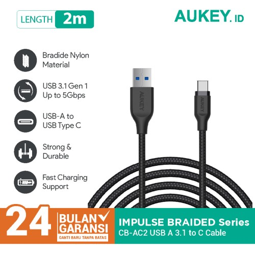 Foto Produk Aukey Cable 2M USB 3.1 gen 1 to USB C Braided Nylon Black - 500281 dari Aukey Makassar