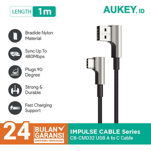 Foto Produk Kabel Aukey Type C Gaming CB-CMD32 90º Braided Nylon - 500691 dari Aukey Makassar