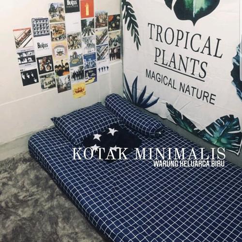 Foto Produk Sprei Motif Kotak Kotak Katun Lokal - Sprei Aesthetic Minimalis - Biru, SarbalSargulAja dari Warung Keluarga Biru