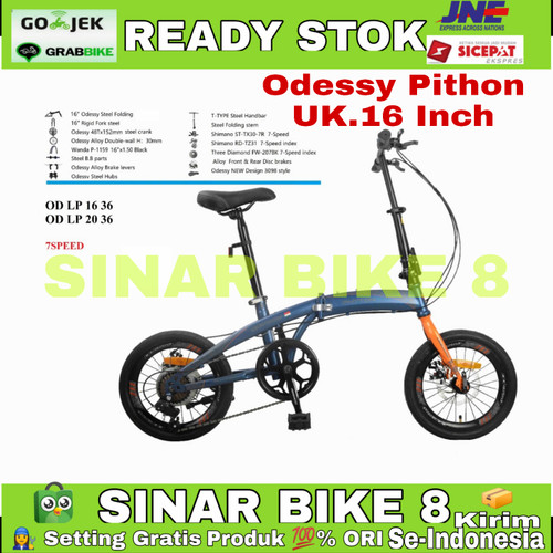 Foto Produk Sepeda Lipat 16 Inch ODESSY PHYTON LP-2036 7 Speed Cakram Double - Blue - Orange dari Sepeda Sinar Bike 8