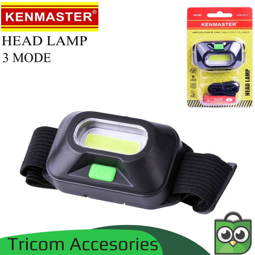 Foto Produk Head Lamp Senter Kepala LED 3 Mode Cahaya + Baterai AAA Kenmaster dari Tricom accesories