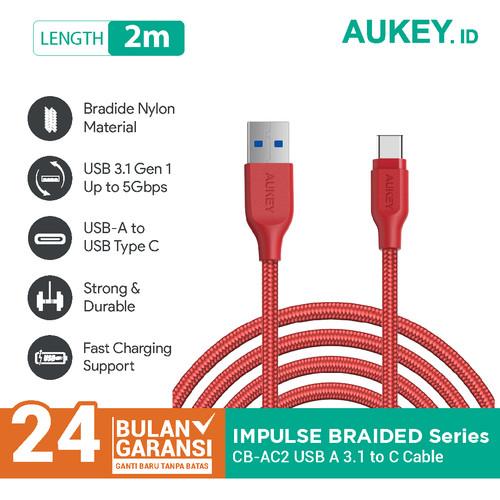 Foto Produk Aukey Cable CB-AC2 2M USB 3.1 gen 1 to USBC Braided Nylon Red - 500280 dari Aukey Makassar