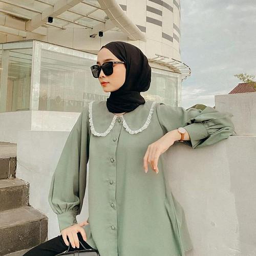 Foto Produk Baju Kemeja Atasan Bluse wanita Lengan Panjang - Mint dari grosir pakaian Termurah 01