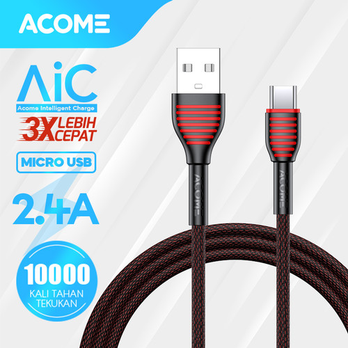 Foto Produk ACOME Kabel Data Micro USB Android 100cm Fast Charging 2.4A ASM010 - Micro USB 1m dari Acome Indonesia