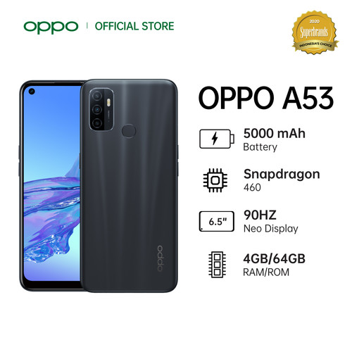 Foto Produk OPPO A53 Smartphone 4GB/64GB (Garansi Resmi) - Moonlight Black dari OPPO OFFICIAL STORE