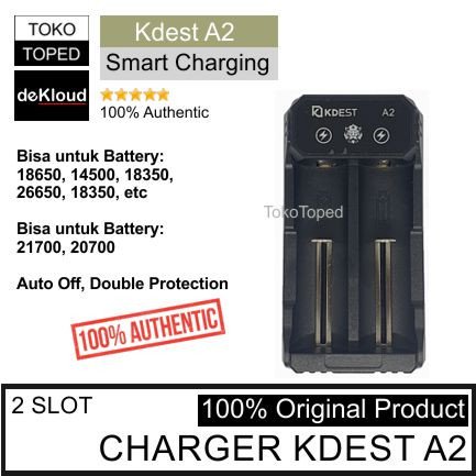 Foto Produk Authentic KDEST A2 Smart Charger | Li-ion batre 18650 21700 cas casan dari deKloud