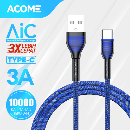 Foto Produk ACOME Kabel Data/Charger Type-C 100cm Fast Charging 3A - ASC010 - Type-C 1m dari Acome Indonesia
