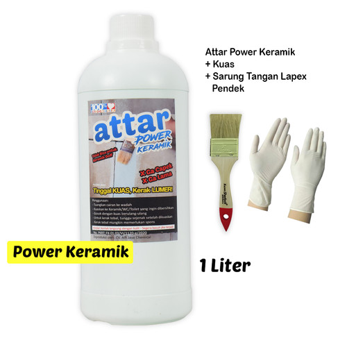 Foto Produk Paket ATTAR Power KERAMIK WC / Toilet 1 Liter + Sarung Tangan Pendek dari Tasneem