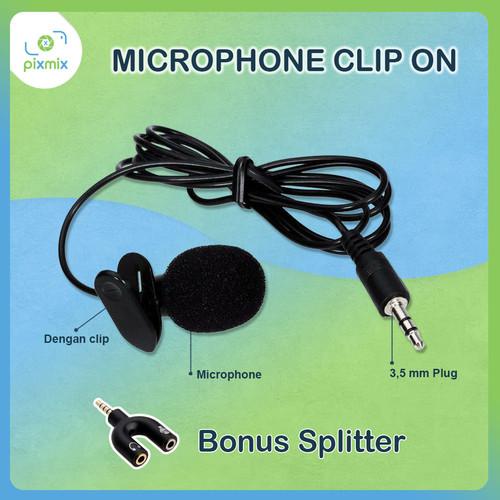 Foto Produk Mic Clip on 3.5mm Microphone with Clip for Smartphone + Bonus Splitter dari pixmix