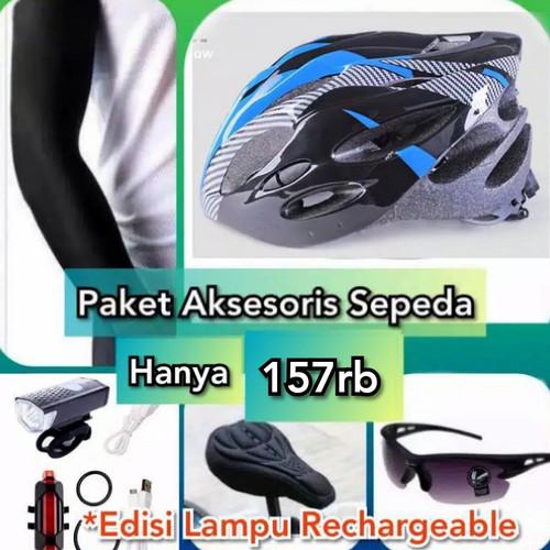Foto Produk Paket Helm Sepeda Limited Edition Plus Aksesoris Sepeda - Biru dari Sandi Media