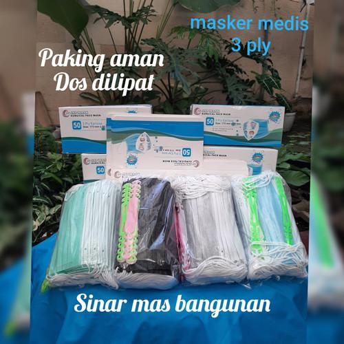 Foto Produk Masker medis 3 ply isi 50 jsp,surgical mask 3 ply,ada xtra 10 konektor - Biru dari Sinar Mas Bangunan