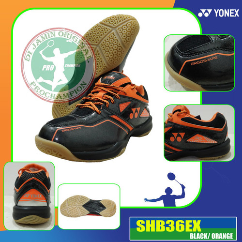 Foto Produk YONEX SHB 36 EX SEPATU BADMINTON ORIGINAL - BLACK ORANGE, 41 dari pro champion