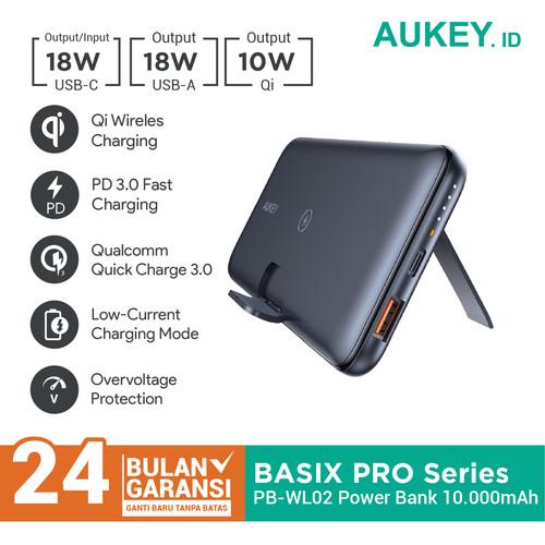 Foto Produk Aukey Powerbank PB-WL02 Wireless Charging 10000mAh with PD&QC - 500491 dari Aukey Makassar