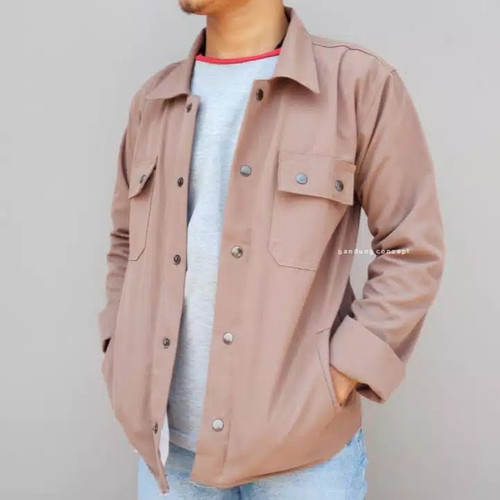 Foto Produk Trucker Jacket || Semi Parka jaket || Kemeja Cowok - moca, M dari Yii Bandung Shop