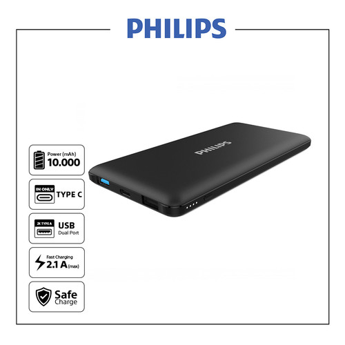 Foto Produk Philips DLP6712N Black Power Bank - 10000 mAh Type C & Micro input dari Philips Audio Official