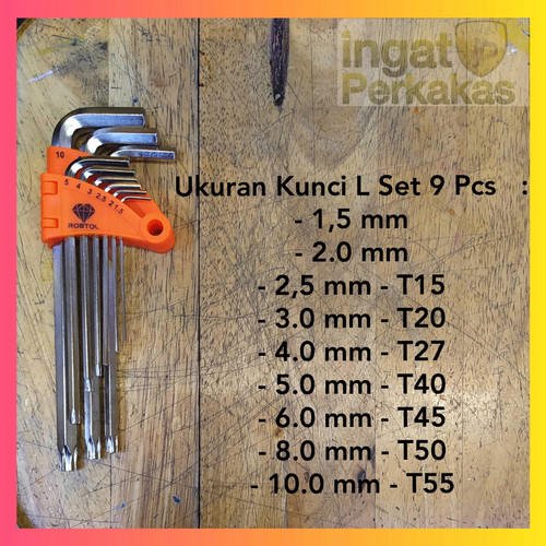 Foto Produk Kunci L Kombinasi Bintang Set 9 Pcs / Kunci L Set / Kunci L Kombinasi dari Ingatperkakas