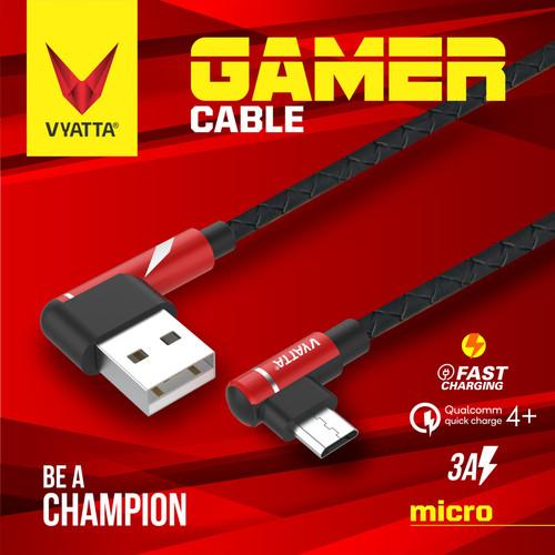 Foto Produk VYATTA GAMER MICRO USB CABLE - FAST CHARGE GARANSI 12 BULAN - Evo Black dari VYATTA INDONESIA