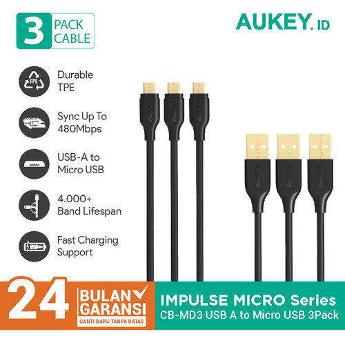 Foto Produk Aukey Cable CB-MD3 Micro USB 2.0 Gold Plate (3Pcs) - 500090 dari Aukey Makassar