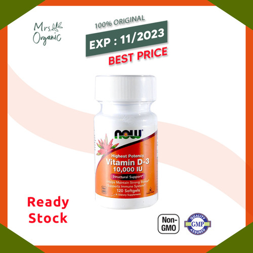 Foto Produk NOW FOODS VITAMIN D-3 10.000 IU 120 SOFTGELS D3 D 3 10000 10000IU - dari Mrs Organic