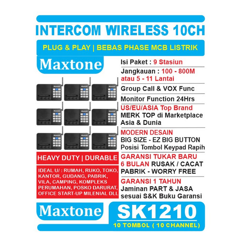 Foto Produk Wireless Intercom 10CH Home Office Interkom - MAXTONE SK1210 - 9 UNIT dari EtalaseBelanja