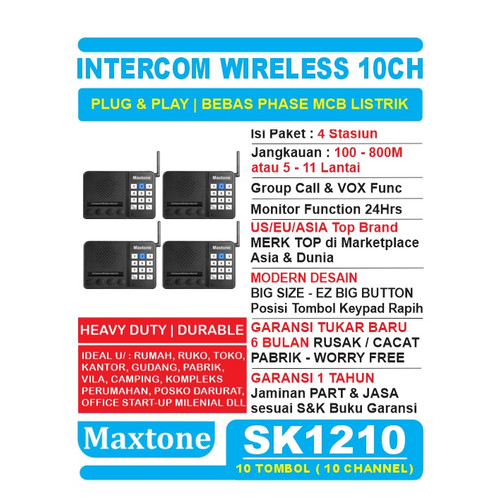 Foto Produk Wireless Intercom 10CH Home Office Interkom - MAXTONE SK1210 - 4 UNIT dari EtalaseBelanja
