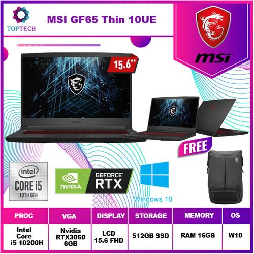 Foto Produk MSI GF65 Thin 10UE RTX 3060 6GB - 144Hz i5 10200H 16GB 512GB 15.6FHD dari Top Tech