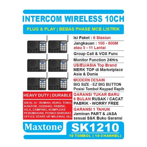 Foto Produk Wireless Intercom 10CH Home Office Interkom - MAXTONE SK1210 - 6 UNIT dari EtalaseBelanja