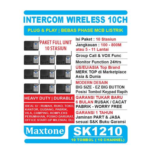 Foto Produk Wireless Intercom 10CH Home Office Interkom - MAXTONE SK1210 - 10 UNIT dari EtalaseBelanja