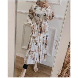 Foto Produk Gamis wanita Dress long tunik busui muslim bahan guardian premium - Putih dari ADEN BATIK