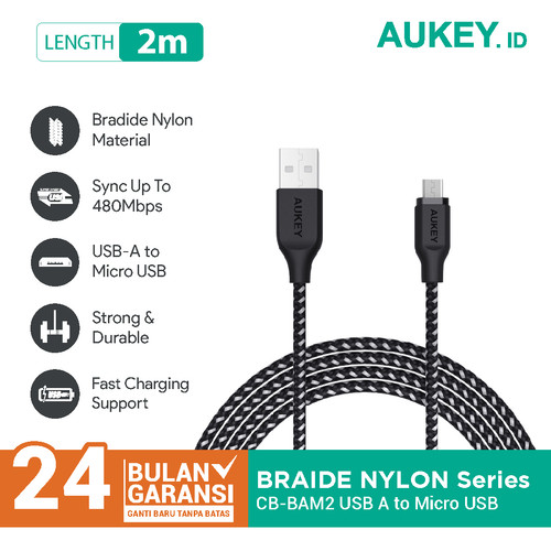 Foto Produk Aukey Cable CB-BAM2 2m Braided Nylon USB2.0 to Micro Black - 500426 dari AUKEY